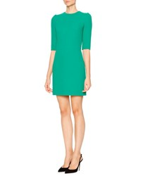 Dolce And Gabbana Half Sleeve Wool Crepe Mini Dress Bright Green