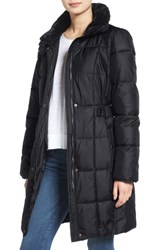 Lauren Ralph Lauren Women's Faux Fur Trim Side Tab Quilted Coat Charcoal