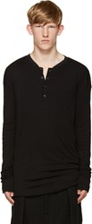 Isabel Benenato Black Ribbed Henley