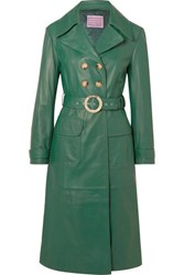 Alexachung Belted Leather Trench Coat Green