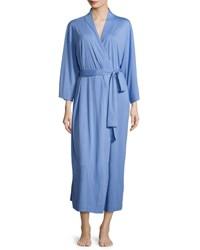 Natori Shangri La Long Jersey Robe Blue Shell