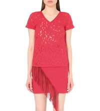 Maje Trompette Lace Embroidered Cotton Blend Top Rouge