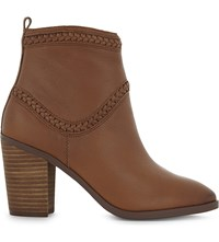 Aldo Cathrina Leather Heeled Ankle Boots Cognac
