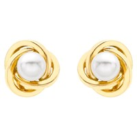 Ibb 9Ct Gold Cultured Pearl Knot Stud Earrings Gold