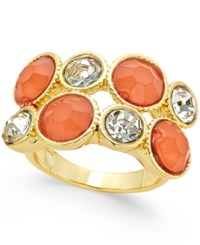 Inc International Concepts Gold Tone Coral Stone And Crystal Two Row Ring Only At Macy's