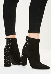 Missguided Black Star Stud Heeled Ankle Boots