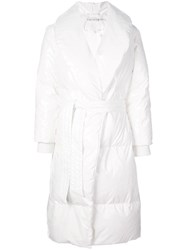 Alice Olivia Van Belted Puffer Coat White