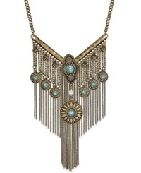Macy's Burnished Gold Tone Turquoise Color Stone Statement Necklace