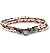 Tod's Woven Leather Wrap Bracelet White