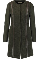 Tory Burch Heather Leather Trimmed Textured Wool Blend Coat Army Green