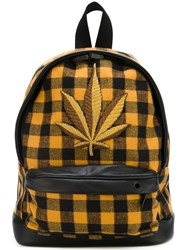 Palm Angels Logo Patch Checked Backpack Yellow And Orange