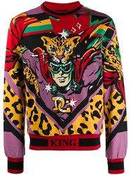 Dolce And Gabbana Leopard King Sweatshirt Red