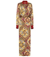 F.R.S For Restless Sleepers Febo Printed Satin Cloque Shirt Dress Yellow