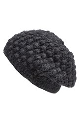 Nirvanna Designs 'Popcorn' Knit Slouch Beanie Charcoal