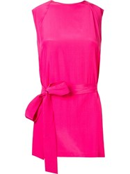 Giuliana Romanno Belted Sleeveless Blouse Pink And Purple