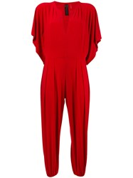 Norma Kamali Elasticated Cuffs Cropped Jumpsuit Red