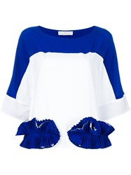 Capucci Ruffle Appliqued Colour Block T Shirt Blue