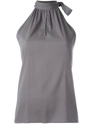 Eleventy Halter Neck Top With Tie Detail Grey