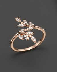 Bloomingdale's Diamond Leaf Ring In 14K Rose Gold .20 Ct. T.W. Pink