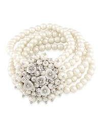 Carolee Drama Stretch Beaded Bracelet White