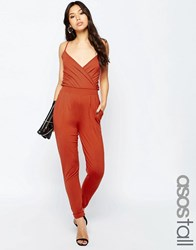 Asos Tall Cami Wrap Front Jersey Jumpsuit With Peg Leg Rust