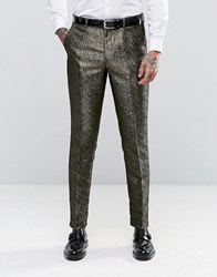 Asos Slim Suit Trousers In Gold Pattern Gold