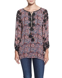 Figue Beaded Paisley Print Tassel Tunic Purple Floral