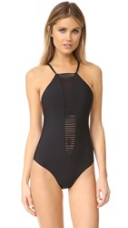 Red Carter Strappy Plunge Tank One Piece Swimsuit Black