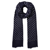 East Silk Wool Spotted Scarf Navy