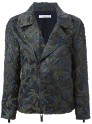Julien David Palm Tree Jacquard Biker Jacket Blue