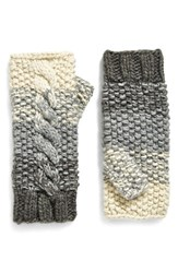 Women's Eugenia Kim 'Carlie' Fingerless Cable Knit Gloves Beige Cream Gray