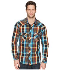Rock And Roll Cowboy Plaid Long Sleeve Snap B2s5730 Turquoise Short Sleeve Button Up Blue