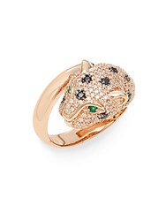 Effy Emerald Black And White Diamond And 14K Rose Gold Cat Ring