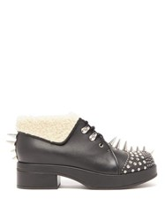 Gucci Shearling Trimmed Spiked Leather Boots Black Silver
