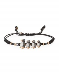Pippo Perez Pull Cord Bracelet With Black And White Diamond Penguins In 18K Gold