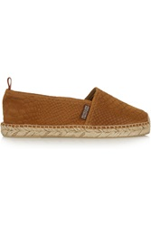Penelope Chilvers Snake Effect Suede Espadrilles Brown