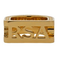 Versace Gold Cut Out Logo Ring