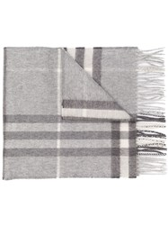 Burberry The Classic Check Cashmere Scarf Grey