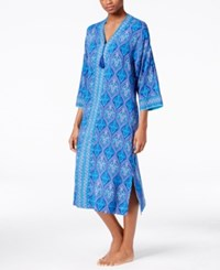 Charter Club Contrast Banded Caftan Only At Macy's Stainglass Blue