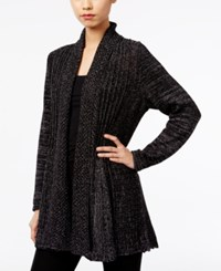 Ny Collection Metallic Fishtail Cardigan Gunmetal Lurex