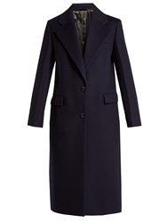 Joseph Magnus Single Breasted Wool Blend Coat Navy
