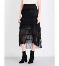 Philosophy Di Lorenzo Serafini Tiered Lace And Tulle Midi Skirt Black