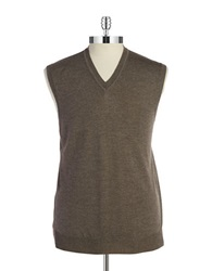 Black Brown Merino Wool Vest Dark Taupe