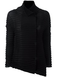 Issey Miyake High Neck Pleated Blouse Black