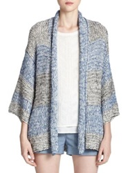 Vince Striped Open Front Cardigan Blue
