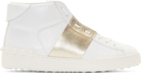 Valentino White Gold Banded High Top Sneakers