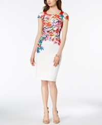 Jax Placed Floral Cold Shoulder Sheath Dress White Floral