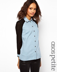 Asos Petite Exclusive Denim Shirt With Sheer Panels And Studded Collar Blue