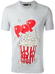 Love Moschino Popcorn Print T Shirt Grey