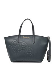 Braccialini Ninfea Crossbody Leather Tote Grey